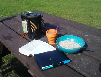 Quiet time in the sun - tea, porridge, bible, prayer diary... & Mr Jet Boil
