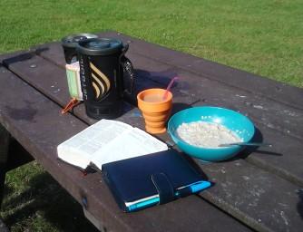 Quiet time in the sun - tea, porridge, bible, prayer diary... & Mr Jet Boil