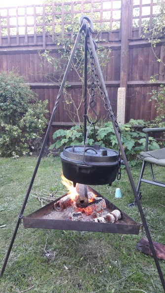 Cooking on the fire in the garden